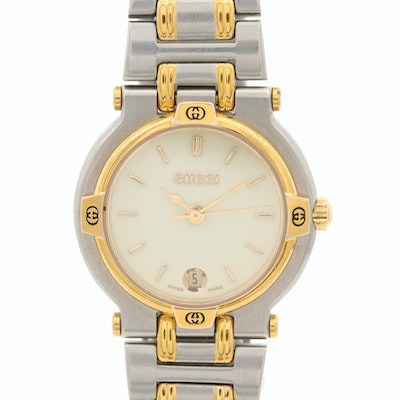 Gucci Two Tone Stainless Steel Wristwatch With Date