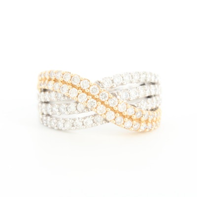 14K White Gold 0.94 CTW Diamond Criss Cross Ring with Gold Accents