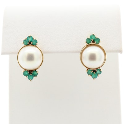 14K Yellow Gold Imitation Pearl and Green Chalcedony Earrings