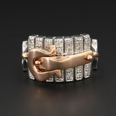 14K White Diamond Articulated Belt Buckle Ring with Rose Gold Accents