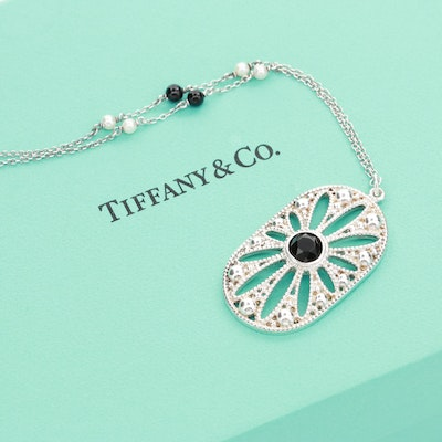Tiffany & Co. Ziefeld Collection Sterling Onyx and Cultured Pearl Daisy Necklace