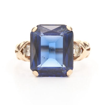 Vintage 10K Yellow Gold Sapphire and Spinel Ring
