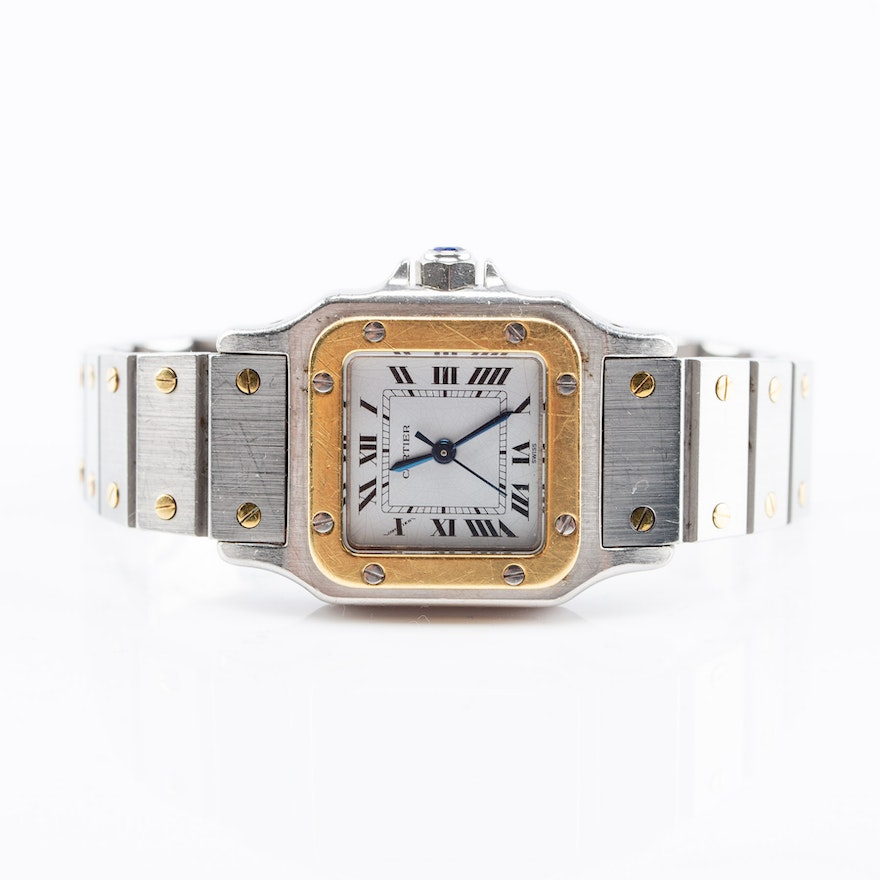 Cartier Santos Galbee 18K Gold and Stainless Steel Automatic Wristwatch