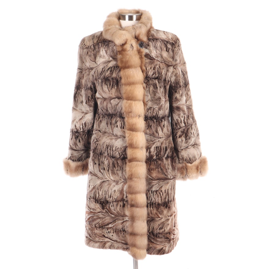 Sculpted Rabbit Fur Coat with Mink Fur Trim, Vintage
