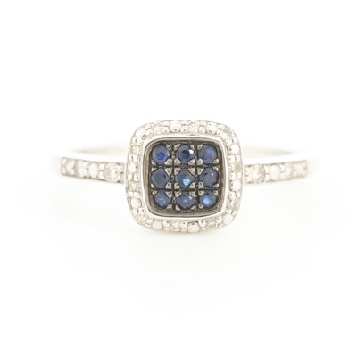 10K White Gold Sapphire and Diamond Ring