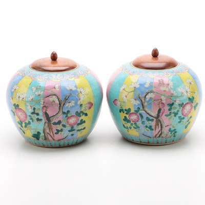 Pair of Chinese Porcelain Melon Jars with Teak Lids
