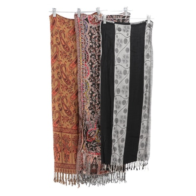 Woven Wool and Silk Fringed Shawls Including Hand-Embroidered, Made in India