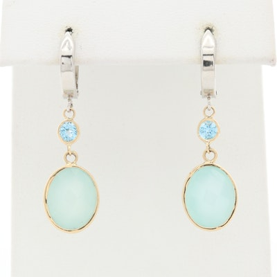14K White and Yellow Gold Chalcedony and Topaz Drop Earrings