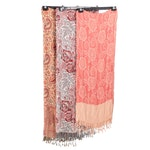 Indian Reversible Fringed Shawls in Wool and Silk Blend Paisley Jacquard