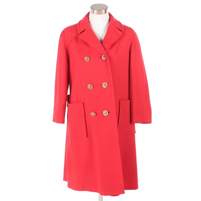 Ruby-Martin Petite Junior Originals Red Double-Breasted Coat, 1960s Vintage