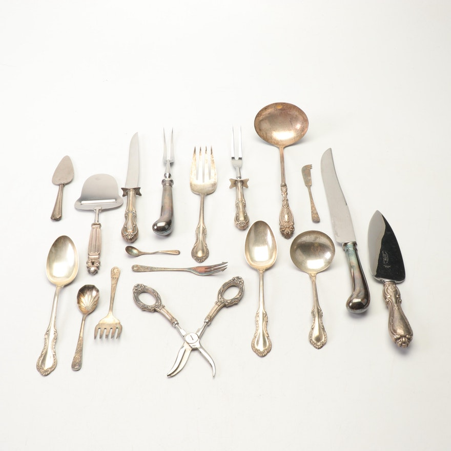 Web, Wm Adams and Other Sterling and Silver Plate Flatware and Serving Utensils