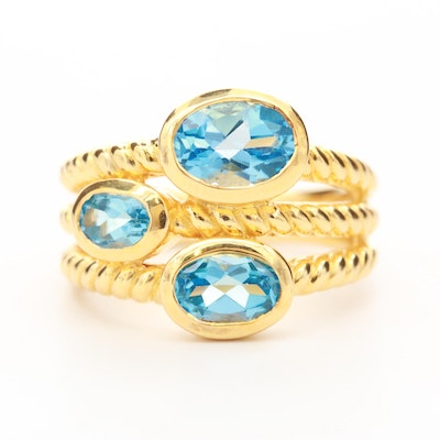 Sterling Silver Blue Topaz Textured Ring