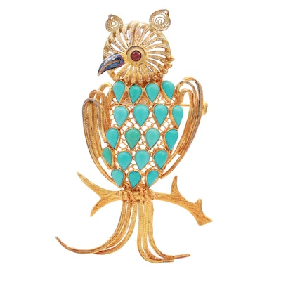 14K Yellow Gold Turquoise and Ruby Owl Converter Brooch