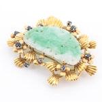 14K Yellow Gold Jadeite and Sapphire Brooch