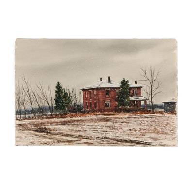 James DeVore Winter Farm House Watercolor Painting