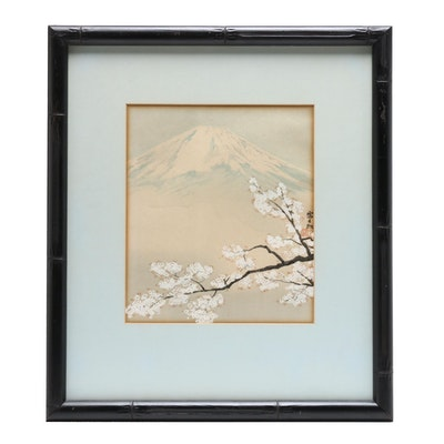 Japanese Woodblock of Mt. Fuji and Blossoms