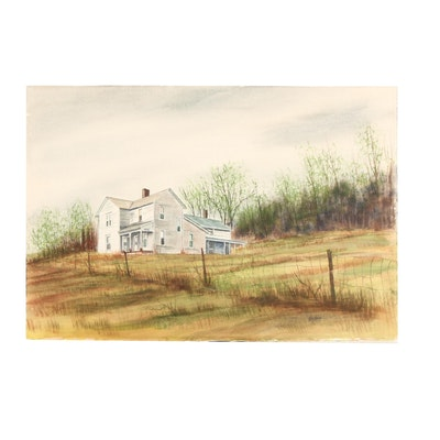 James DeVore Farmhouse Watercolor Painting