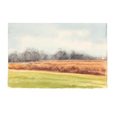 James DeVore Rainy Landscape Watercolor Painting