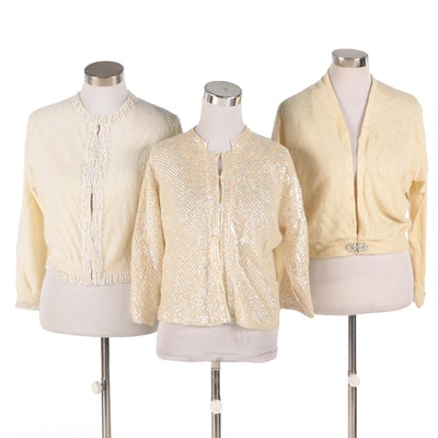 Jo-Ro Imports Lambswool and Angora Beaded Cardigan with Others, 1960s Vintage