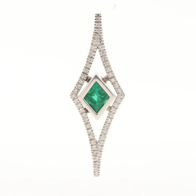 14K White Gold Emerald and Diamond Pendant