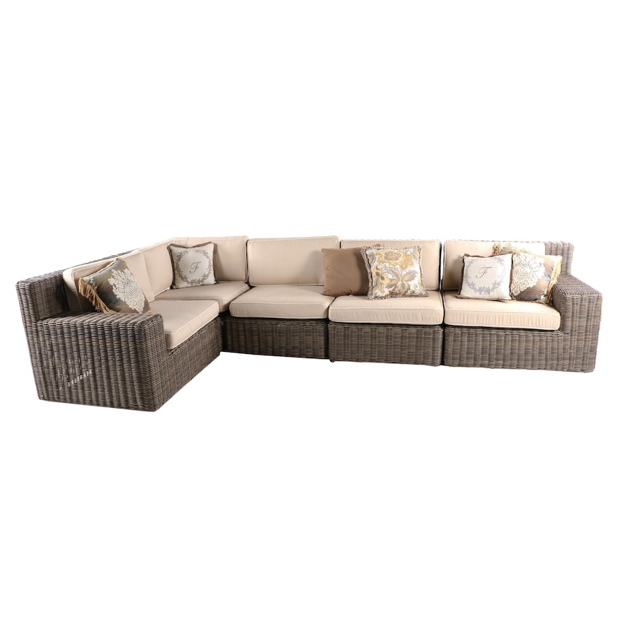 Frontgate Synthetic Wicker Patio Sectional Sofa with Pillows & CoverMates Covers