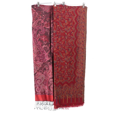 Indian Handwoven Floral and Paisley Jamawar Shawls in Silk Blend and Cotton