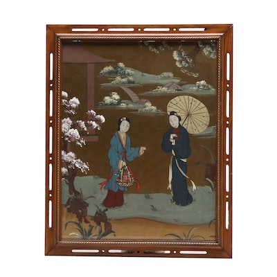 East Asian Gouache Painting of Figures in Garden