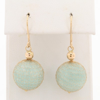 Milor 14K Yellow Gold Blue Beryl Dangle Earrings