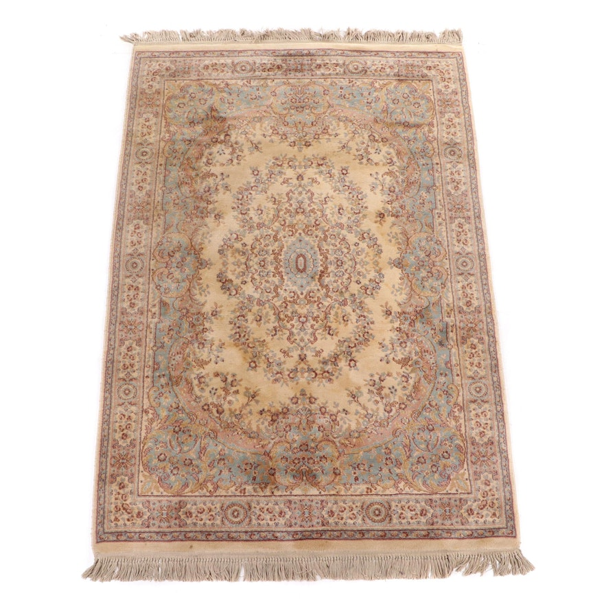 Hand-Knotted Indo-Persian Kerman Wool Rug