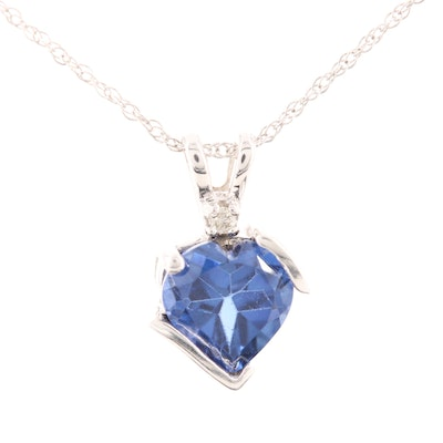 10K White Gold Synthetic Sapphire and Diamond Heart Pendant Necklace