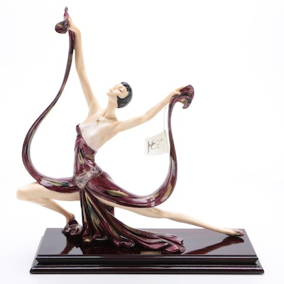 Hand-Painted Resin Dancer Statuette after Amilcare Santini