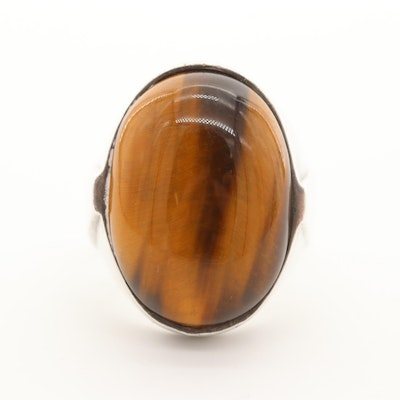 Sterling Silver Tiger's Eye Cabochon Ring