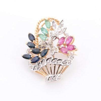 14K Yellow Gold Multi-Gemstone and Diamond Floral Basket Brooch