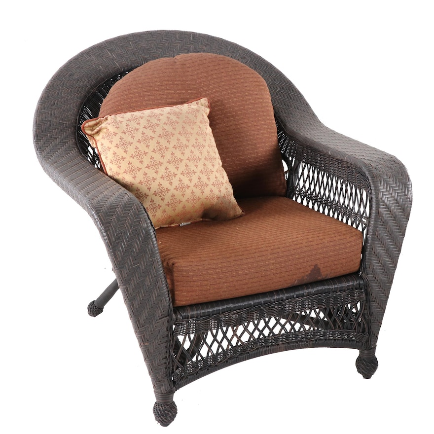 Woven Synthetic Wicker Chair with Roger's Cushions and CoverMates Cover