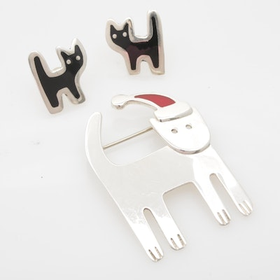 Sterling Silver Enameled Cat Earrings and Brooch