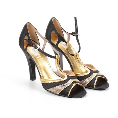 Prada Leather, Reptile, and Satin T-Strap Heeled Sandals, Made in Italy