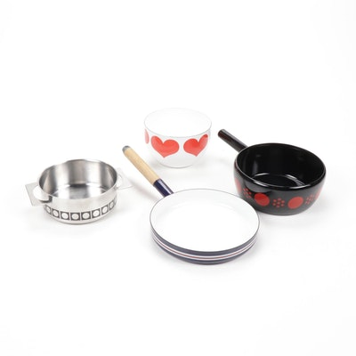 "Vintage Enamelled Steel Cookware with Kaj Frank ""Red Heart"" Bowl by Arabia"