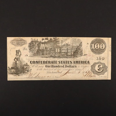 "$100 Confederate States of America 1862 Obsolete ""Train"" Banknote"