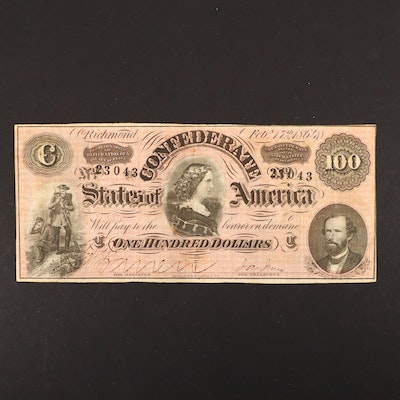 "$100 Confederate States of America 1864 Obsolete ""Lucy Pickens"" Banknote"