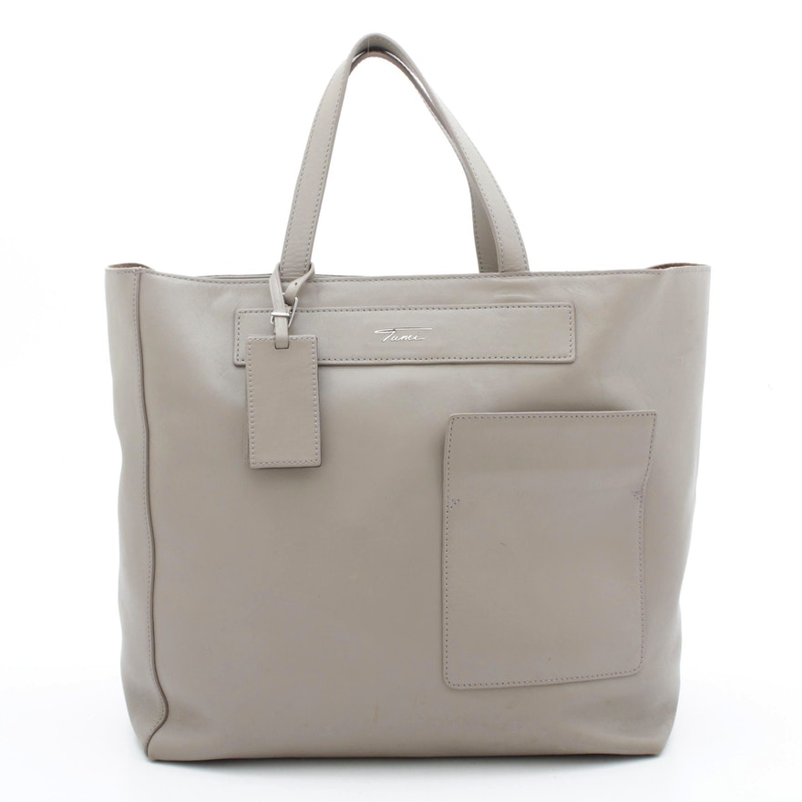 Tumi Full Grain Leather Tote with Attached Exterior Pouch