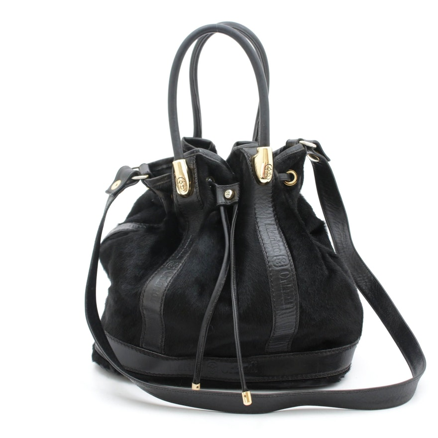 Marino Orlandi Black Leather and Calf Hair Drawstring Bucket Bag