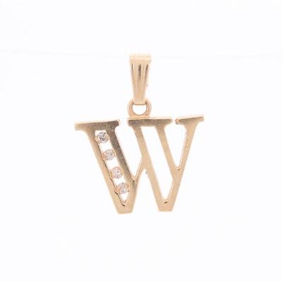 14K Yellow Gold Diamond W Letter Pendant