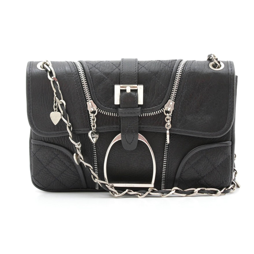 Luella Black Leather Zipper, Chain, Buckle and Heart Bartley Shoulder Bag