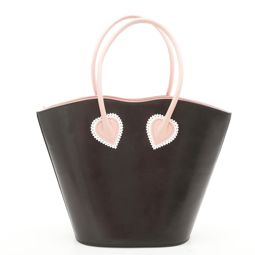 Escada Black Leather Tote Trimmed in Pink with Perforated and Scalloped Trim