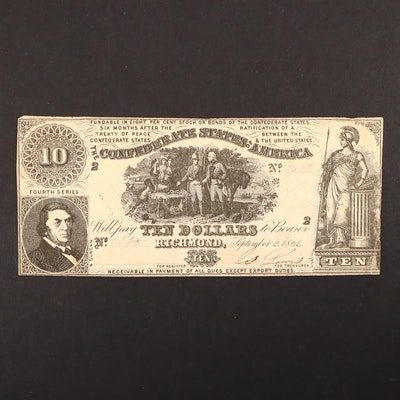 $10 Confederate States of America 1861 Obsolete Banknote