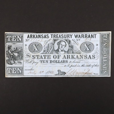 An 1863 Arkansas Treasury Warrant $10 Obsolete Banknote