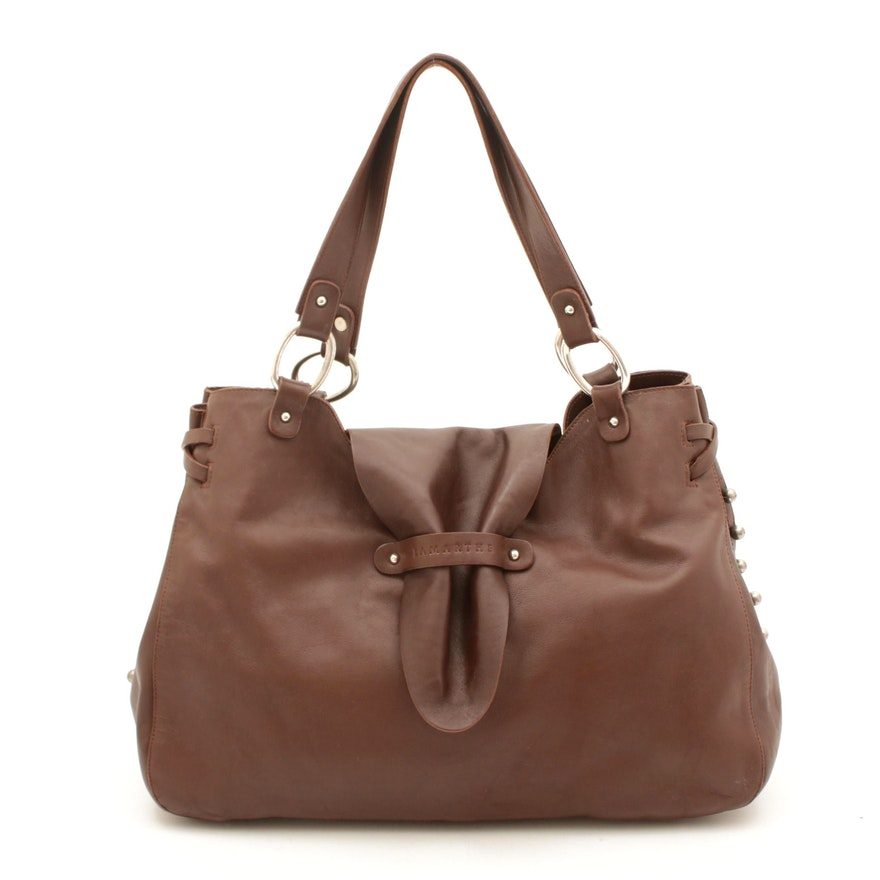 Lamarthe Paris Brown Grained Leather Flap Front Shoulder Bag