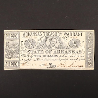 An 1862 Arkansas Treasury Warrant $10 Obsolete Banknote