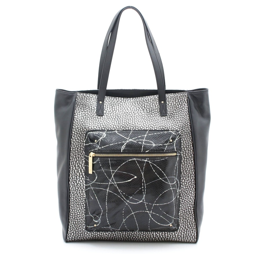 L.A.M.B. Black and Silver Leather Tote with Snakeskin Print and Pebbled Leather