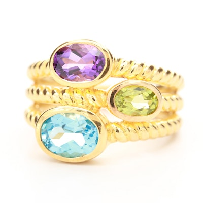 Sterling Silver Blue Topaz, Peridot and Amethyst Textured Ring